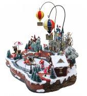 Immagine di 'Villaggio natalizio con pista di pattinaggio e mongolfiere in movimento, luci, musica (65 x 49 x 49 cm)'