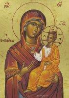 Immagine di 'Icona Madonna con il Bambino, produzione greca su legno - 25 x 19,5 cm'