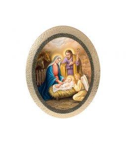 """Copertina di 'Icona ovale in polimero con cavalletto """"Natività"""" - dimensioni 25x20 cm'"""