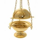 Immagine di 'Turibolo e navicella dorati a forma sferica con decoro a croci traforate - altezza 14 cm'