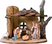 Presepe completo in legno Val Gardena rustico 7 pezzi - Demetz - Deur - Statua in legno dipinta a mano. Altezza pari a 7 cm.
