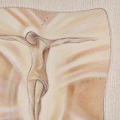 """Immagine di 'Quadro in resina effetto tela """"Gesù crocifisso"""" - dimensioni 49x49 cm'"""
