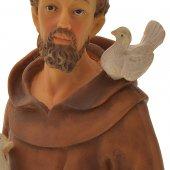 """Immagine di 'Statua in resina colorata """"San Francesco con colombe"""" - altezza 30 cm'"""