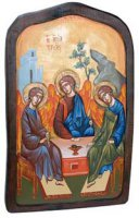 """Icona in legno dipinta a mano """"Trinità di Rublev"""" - dimensioni 42,5x27 cm"""
