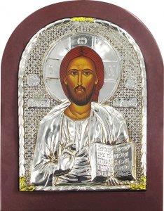 Copertina di 'Icona Cristo Pantocratore con riza resinata color argento - 12 x 8 cm'