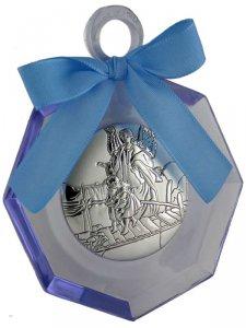 """Copertina di 'Sopraculla geometrico in plexiglass azzurro e argento """"Angelo custode""""  - dimensioni 11x8 cm'"""