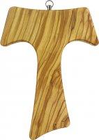 Croce Tau da parete in legno di ulivo (croce di San Francesco d'Assisi) - 20 cm
