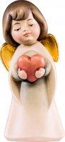 Angelo sognatore con cuore - Demetz - Deur - Statua in legno dipinta a mano. Altezza pari a 9 cm.