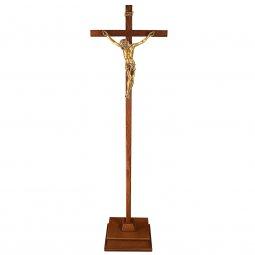 Copertina di 'Croce astile in legno con Cristo bronzato - dimensioni 183x47 cm'