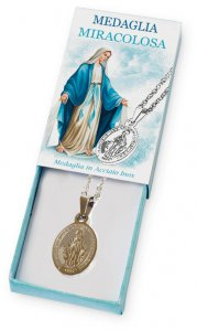 Copertina di 'Confezione con catenina e Medaglia Miracolosa in acciaio inox'