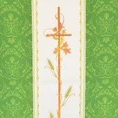 Immagine di 'Coprileggio verde con croce e spighe stampate su fascia centrale sfumata'