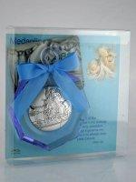 """Immagine di 'Sopraculla geometrico in plexiglass azzurro e argento """"Angelo custode""""  - dimensioni 11x8 cm'"""