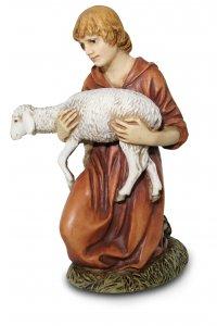 Copertina di 'Pastore in ginocchio con agnello Linea Martino Landi - presepe da 50 cm'