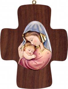 Copertina di 'Croce con Madonna rosso-azzurro - Demetz - Deur - Statua in legno dipinta a mano. Altezza pari a 16 cm.'