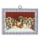 """Icona con cornice azzurra """"Ultima Cena"""" stile bizantino - dimensioni 10x14 cm"""