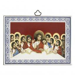 """Copertina di 'Icona con cornice azzurra """"Ultima Cena"""" stile bizantino - dimensioni 10x14 cm'"""