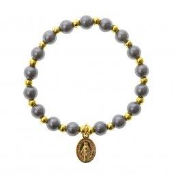 Copertina di 'Bracciale rosario elasticizzato color grigio e oro - grani tondi 7 mm'