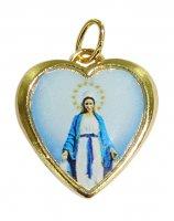 Medaglia cuore con resina Madonna Miracolosa