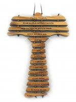 Croce Tau da Parete con Preghiera Padre Nostro in Italiano, Legno d'Ulivo, 12,7 x 19 x 0,5 cm