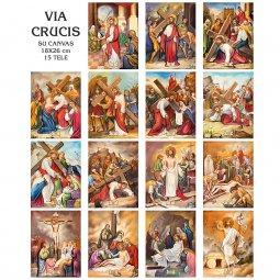 """Copertina di 'Set 15 quadretti canvas """"Via Crucis"""" - dimensioni 18x26 cm'"""