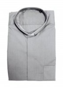 Copertina di 'Camicia clergyman grigio chiaro manica lunga 100% cotone - collo 41'