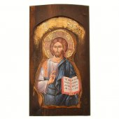 Icona in legno con Cristo Pantocratore in rilievo (h. 17 cm)
