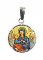 Medaglia Divino Amore tonda in argento 925 e porcellana - 1,8 cm