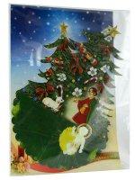 Immagine di 'Alberello tridimensionale in cartoncino con Gesù bambino fosforescente'