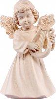 Statuina dell'angioletto con lira, linea da 10 cm, in legno naturale, collezione Angeli Sissi - Demetz Deur