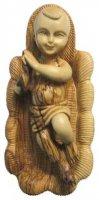Statua Gesù Bambino in culla in legno d'ulivo