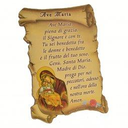 """Copertina di 'Quadretto a forma di pergamena con piedino da appoggio """"Ave Maria"""" - dimensioni 10x7 cm'"""