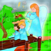 "Mini puzzle ""Angelo e bimbi"""