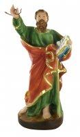 Statua San Paolo con serpente, in gesso dipinta a mano - 25 cm