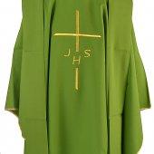 Immagine di 'Casula verde economica con croce e cristogramma IHS ricamati'