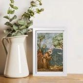 """Immagine di 'Quadretto """"San Francesco predica agli uccelli"""" con passe-partout e cornice minimal - dimensioni 15x10 cm'"""