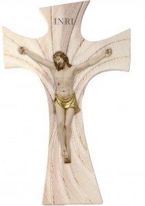 Copertina di 'Crocifisso in legno ad effetto pietra con Cristo in resina colorata - dimensioni 16x25 cm'