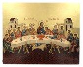 IconaUltima Cena dipinta a mano su legno con fondo orocm 26x32