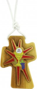 Copertina di 'Bomboniera comunione: Croce in legno d'ulivo con calice - 4,7 cm'