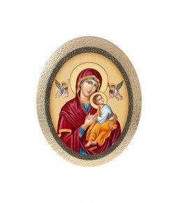 """Copertina di 'Icona ovale in polimero con cavalletto """"Madonna del Perpetuo Soccorso"""" - dimensioni 25x20 cm'"""