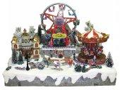 Villaggio natalizio con giostra e luna park in movimento, luci, musica (60 x 48 x 49 cm)