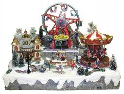 Copertina di 'Villaggio natalizio con giostra e luna park in movimento, luci, musica (60 x 48 x 49 cm)'