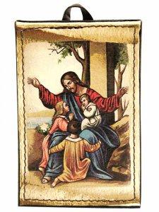 """Copertina di 'Icona in pelle """"Gesù e i bambini""""'"""