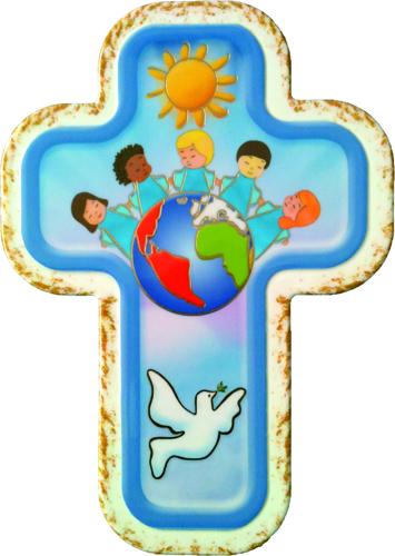 spesso Croce laccata 'La pace nel mondo' da appendere, in legno sintetico  JC44