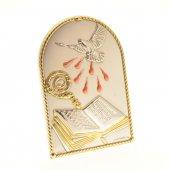 Quadretto cresima in bilaminato d'argento e dettagli pastello e oro