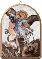 Tavola ad arco San Michele su carta effetto seta e dettagli in oro a caldo - cm 15 x 20