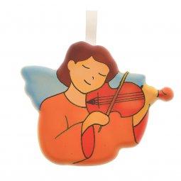 Copertina di 'Angioletto da appendere con violino - dimensioni 8x7 cm'