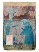 """Immagine di 'Arazzo sacro """"San Francesco predica agli uccelli"""" - dimensioni 44x33 cm'"""
