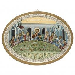 """Copertina di 'Icona ovale laccata oro """"Ultima Cena"""" - lunghezza 21,5 cm'"""