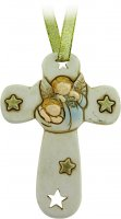 Croce in resina con angelo e stelle cm 8,5