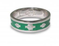 Copertina di 'Fedina rosario in argento smaltata verde con crocette mm 15'